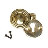 Keyhole Cover Escutcheon - Aged Brass Reeded Round (single)