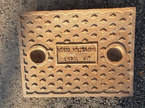 Salvaged Cast Iron Manhole/Inspection Cover 664 x 512