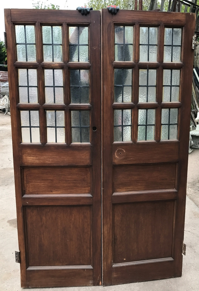Pair of Antique Leaded Glazed Solid Pine Doors Ref 008AB
