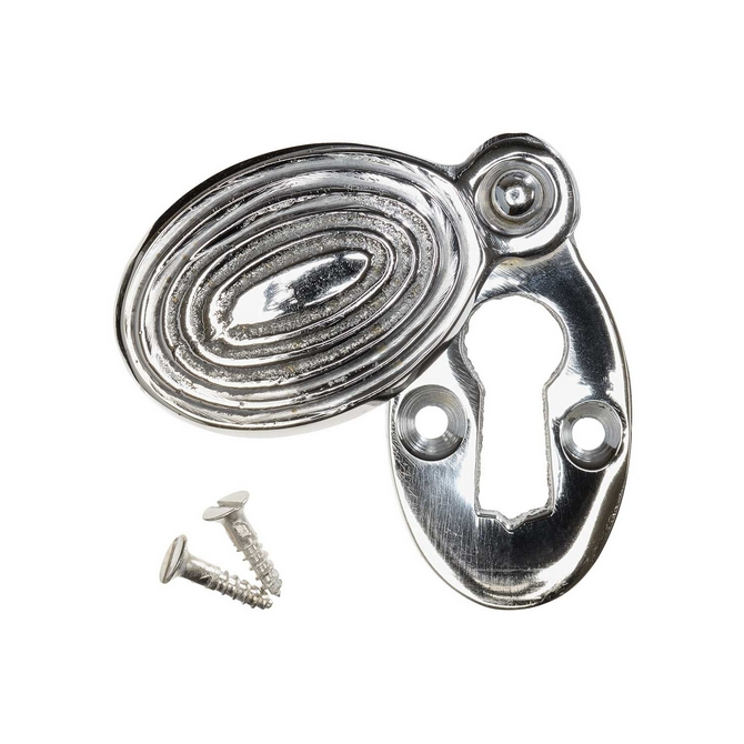 Keyhole Cover Escutcheon - Nickel Reeded Oval (single)