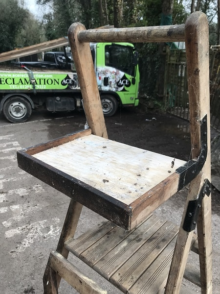 Antique Wooden Step Ladder with folding shelf
