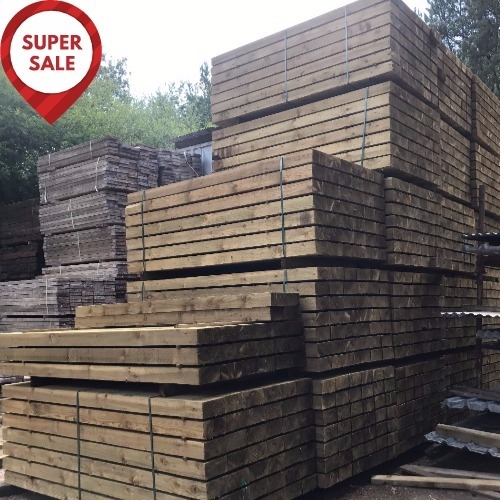 NEW BRITISH ECO TREATED SLEEPERS 2.4m x 200mm x 100mm - GREAT VALUE