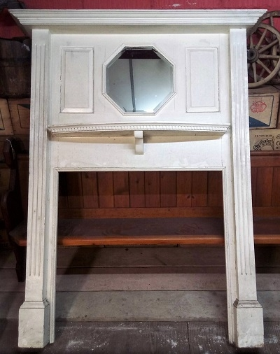 Original Wooden Fire Surround with mirror over mantle