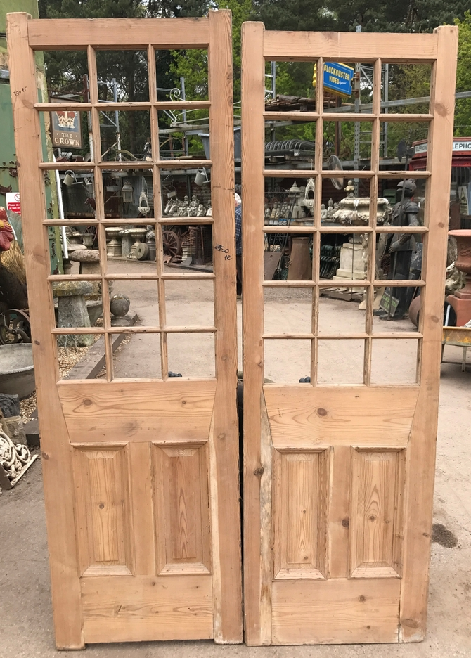 Pair of Antique Original Pine Doors Ref 004AB (No Glass)