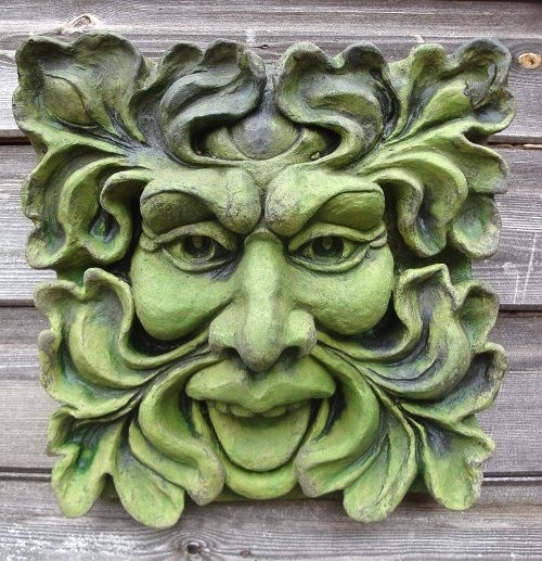 Square Green man wall plaque