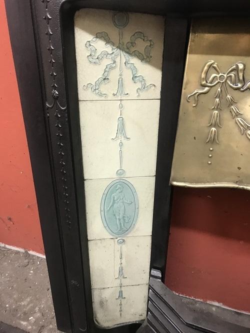 Original Victorian / Art Nouveau Cast Iron Tiled Insert with Brass Canopy