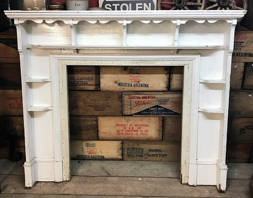Original White Painted Wooden Fire Surround