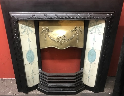 Original Victorian / Art Nouveau Cast Iron Tiled Insert with Brass Canopy