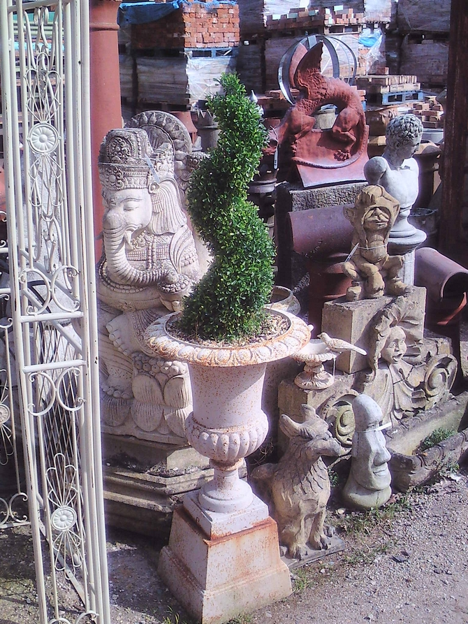 Pair of Cast Iron Urns & Plinths AR914