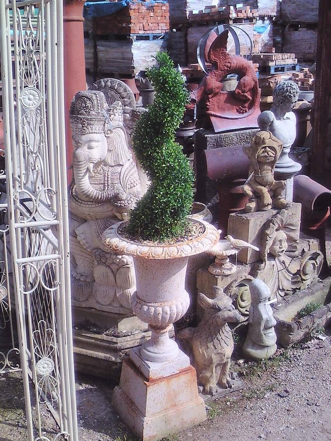 Pair of Cast Iron Urns & Plinths AR914