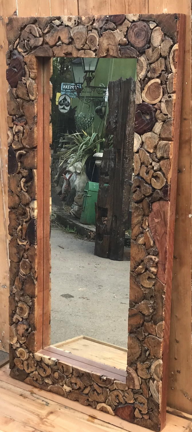 Teak Framed Mirror Large