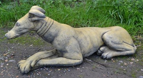 Whippet lying down dog statue - 'Belle'