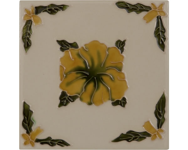Set of 10 Orange Flower on Cream Tiles