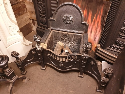 Early Period Original Cast Iron Fire Basket & Fire Back