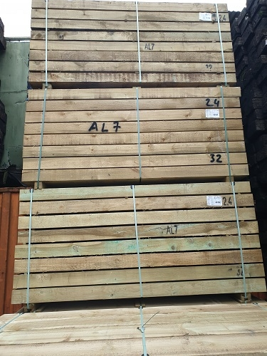 NEW BRITISH SOFTWOOD ECO TREATED SLEEPERS 2.4m x 250mm x 125mm PACK SPECIAL