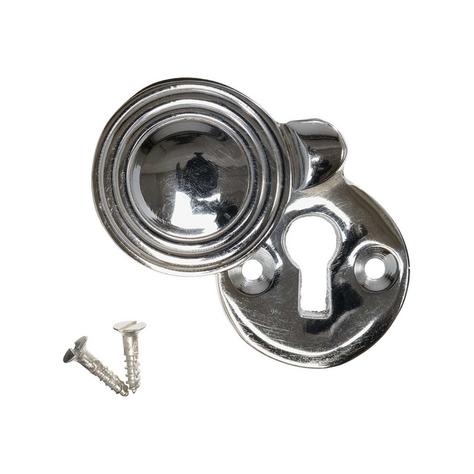 Keyhole Cover Escutcheon - Nickel Reeded Round (single)