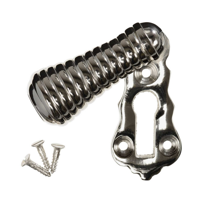 Keyhole Cover Escutcheon - Nickel Beehive Teardrop (single)