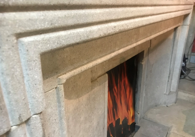 Original Art Deco Stone Fire Surround