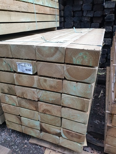 NEW SOFTWOOD TREATED SLEEPERS 2.4m x 250mm x 125mm