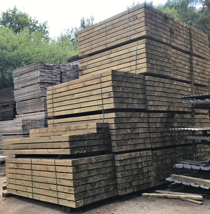 NEW BRITISH ECO TREATED SLEEPERS 2.7m x 200mm x 100mm - GREAT VALUE