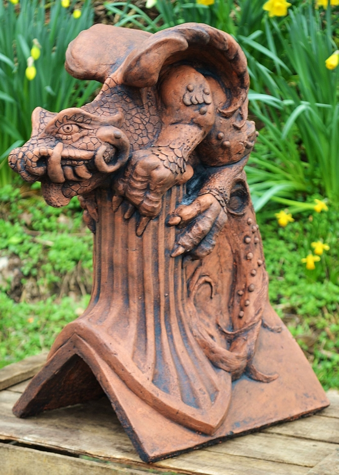 Gothic Dragon roof finial angled ridge tile