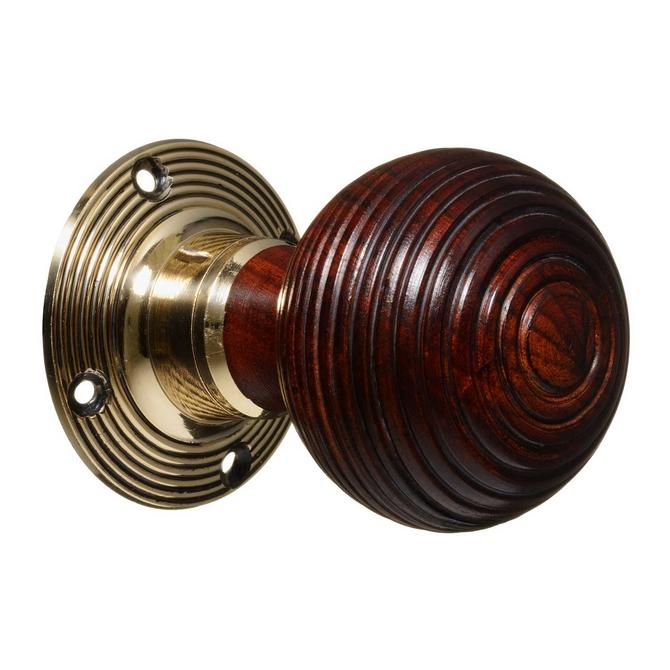 Victorian Style Door Knobs - Rosewood Beehive - Brass (pair)