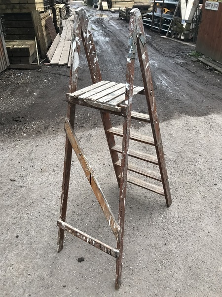 Antique Wooden Paint Splattered Step Ladder