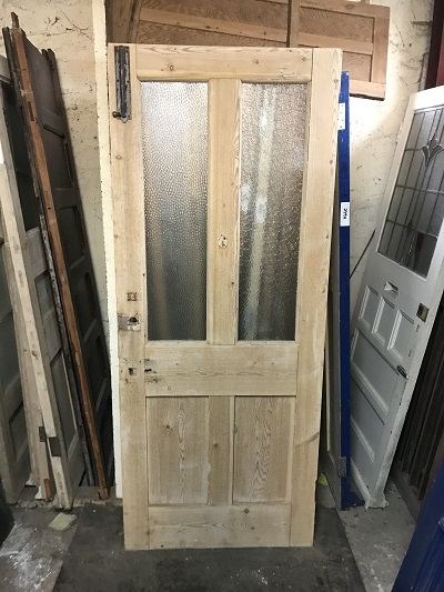 Reclaimed Glazed Stripped 4 panel Door