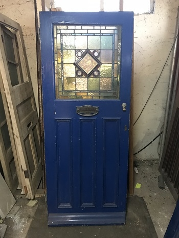 Reclaimed Hand Painted Stained Glass Door