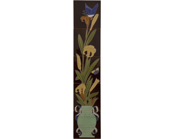 Set of 10 Strip Bird And Flowers Tiles