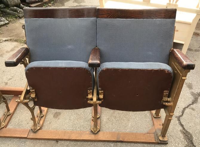 A Pair Art Deco Circa 1930s Vintage Theatre Seats