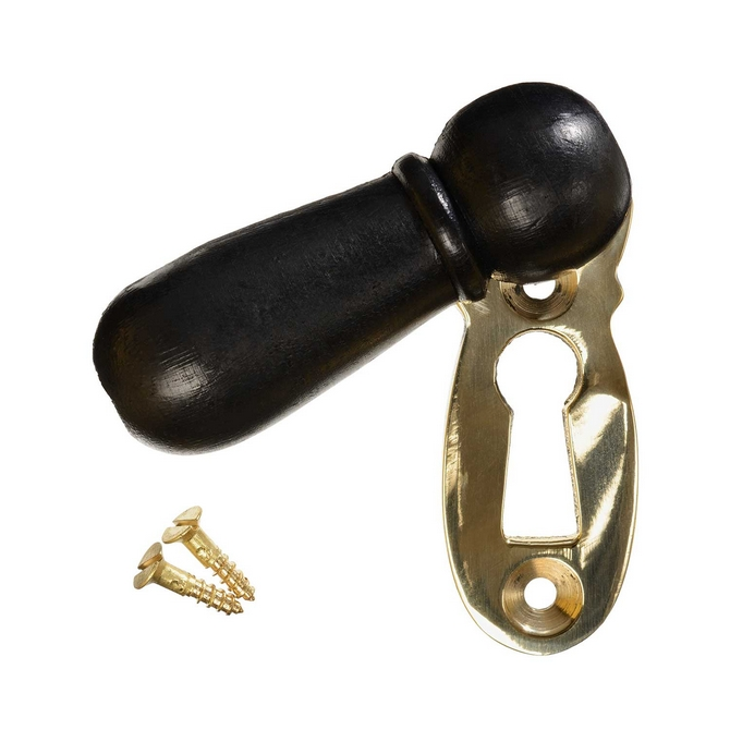 Keyhole Cover Escutcheon - Ebonised Bun - Brass (single)