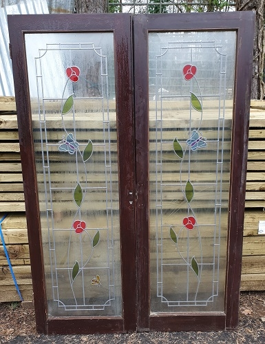 Pair of Wooden Internal Stained Glass French Doors