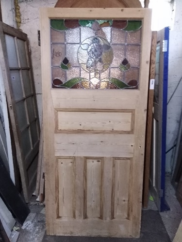 Reclaimed 5 Panel Stained Glass Front Door