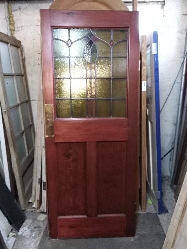 Reclaimed Pair of Stained Glass Entrance Doors