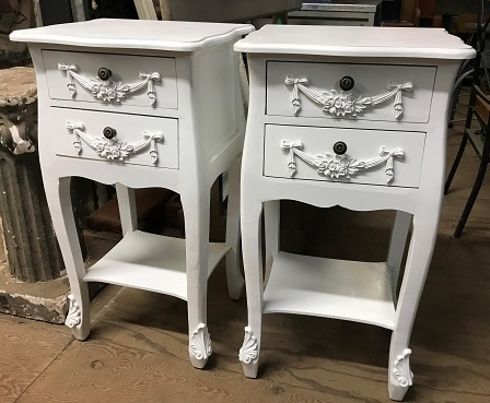 Pair of Toulouse Floral White 2 Drawer Bedside Table