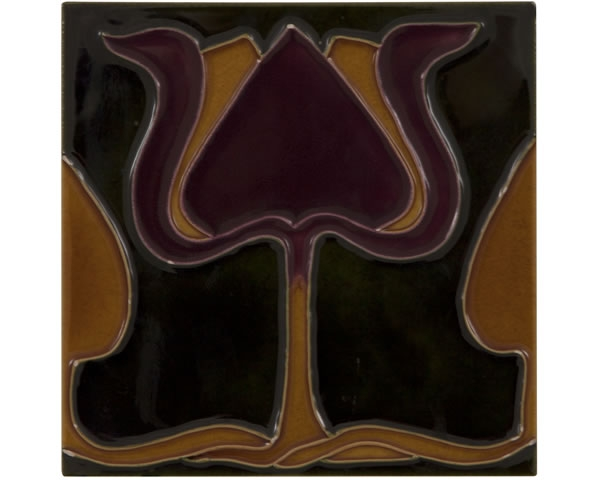 Set of 10 Burgundy/Orange Tulip on Green Tiles