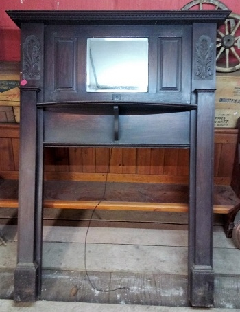 Original Decorative Oak Fire Surround with mirror over mantle