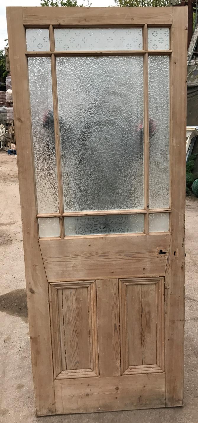 VICTORIAN FRONT DOOR WOOD RECLAIMED PERIOD OLD ANTIQUE PINE GLAZED REF 006