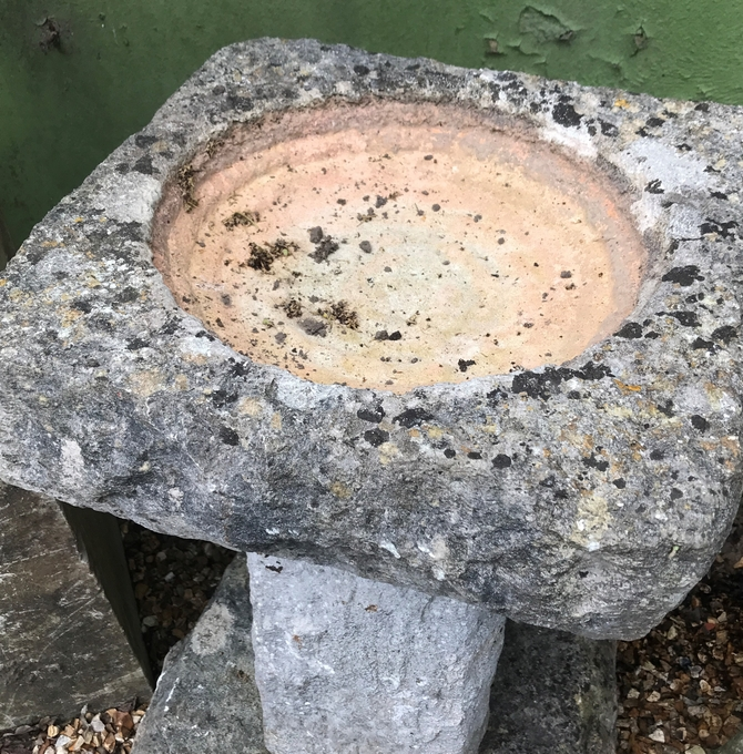 Genuine Solid Stone Bird Bath