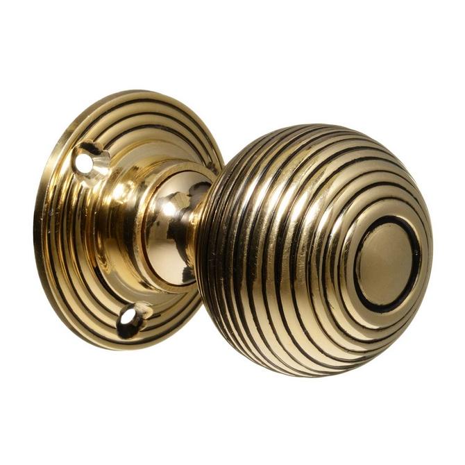 Victorian Style Door Knobs - Brass Beehive (pair)