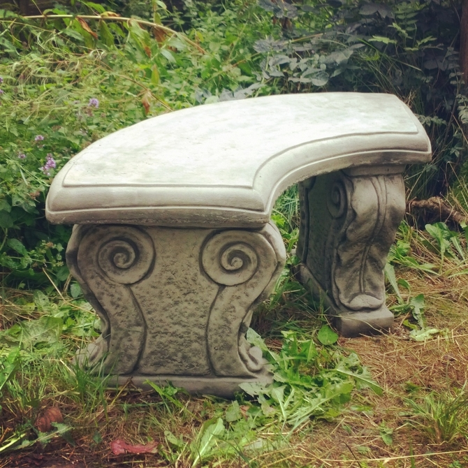 Curved Scroll Stone Bench