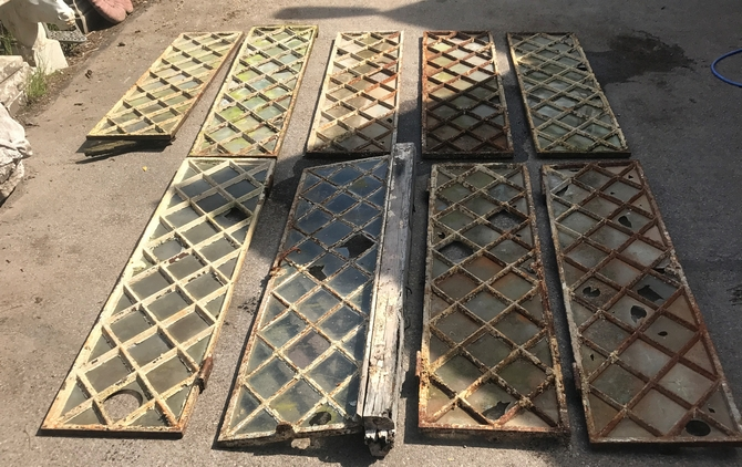 Reclaimed Diamond Cast Iron Windows