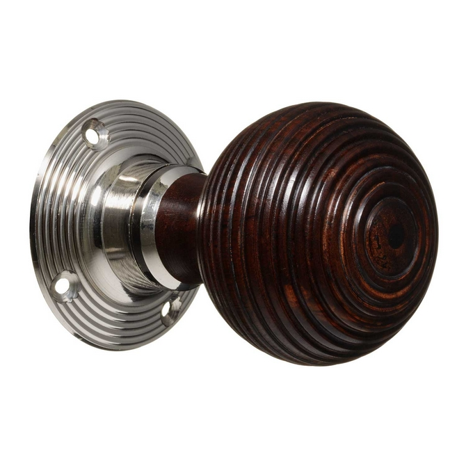 Victorian Style Door Knobs - Rosewood Beehive - Nickel (pair)