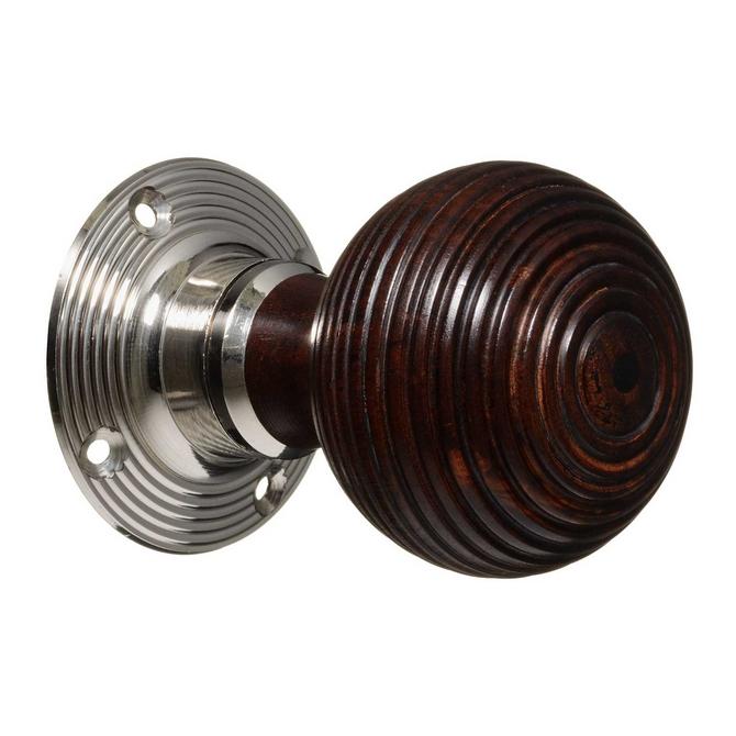 Victorian Style Door Knobs - Rosewood Beehive - Nickel (pair)