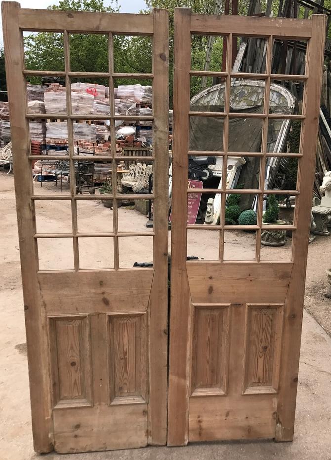Pair of Antique Original Pine Doors Ref 004AB (No Glass)