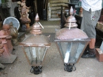 Pair Of Large Copper Lamp Tops